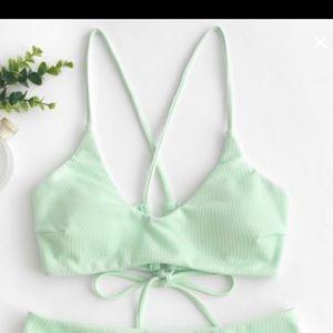 Zaful Mint Green Strappy Bikini Top